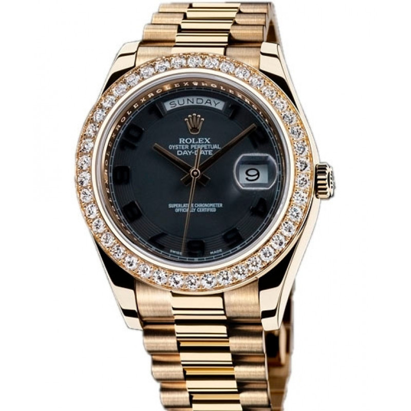 Rolex Day-Date II President Yellow Gold - Diamond Bezel Black dial