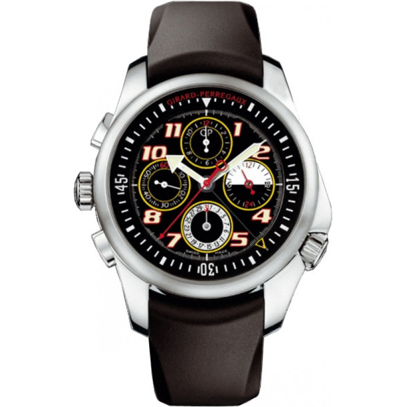 Girard Perregaux watches R&D 01 Chronograph (SS / Black / Leather)